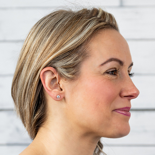 woman wearing hearing aid