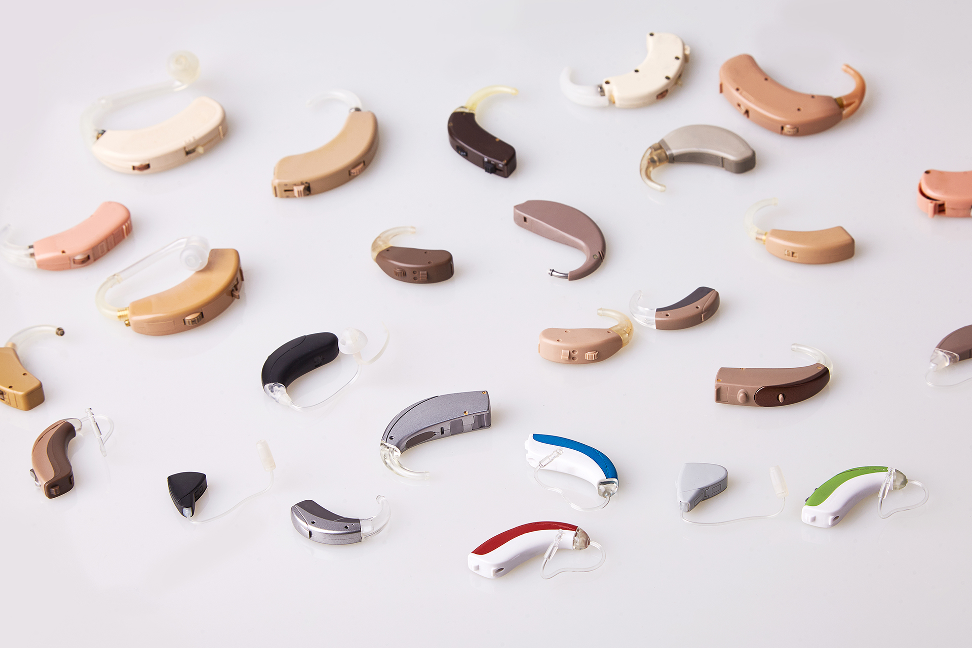 A selection of hearing aids